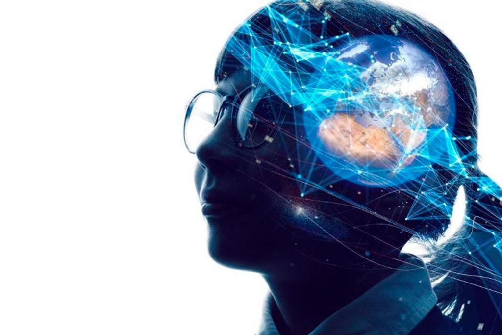 arte de uma mulher com linhas azuis e o planeta terra na sua cabeça